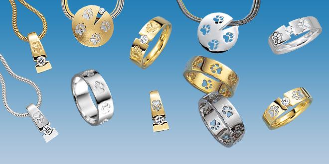 Hundepfoten Schmuck in Silber und Gold