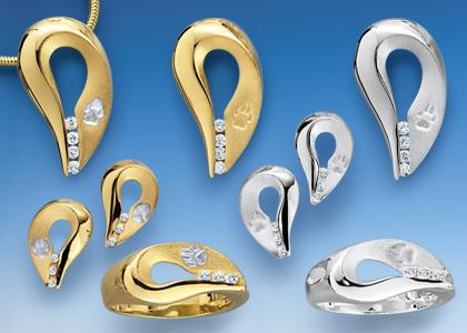 Pfotenschmuck Ringe, Anhänger und Ohrschmuck in Silber und Gold