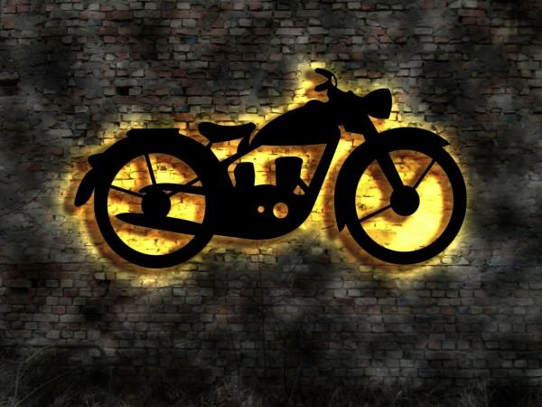 Motorrad 3D-Wandbild aus Holz mit LED