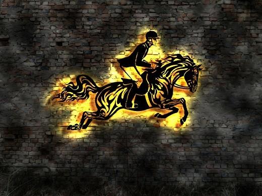 Pferd mit Reiter 3D- Wandbild aus Holz mit LED Leuchte