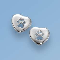 Ohrstecker kleines Herz mit durchbrochener Hundepfote