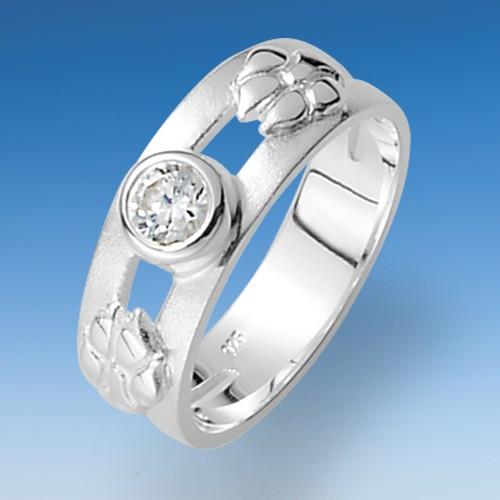 Eleganter Ring mit aufgesetzten Pfoten und leuchtendem Zirkonia