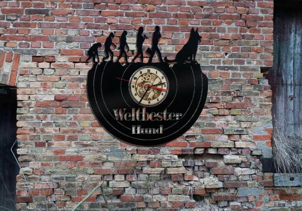 Schäferhund Wanduhr aus schwarz lackiertem Holz