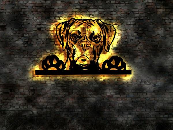 Boxer Hund 3D Wanddekoration aus Holz mit LED Leuchte