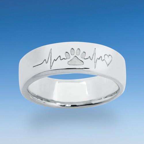Besonderer Ring mit einpunzierter Katzenpfote und dem Herzschlag Ihrer Katze