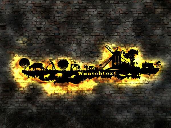 Skyline Bauernhof 3D-Wandbild aus Holz mit LED