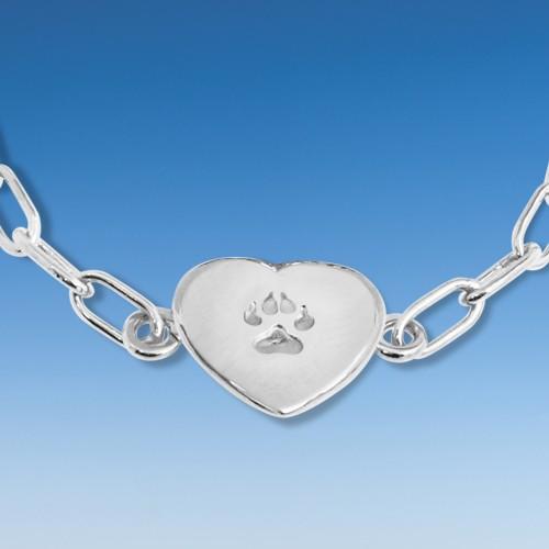 Aktuelles Armband mit eingehängtem Herz mit Hundepfote an Ankerkette