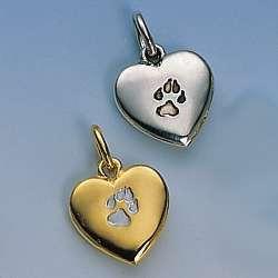 Edler Anhänger gewölbtes kleines Herz mit einpunzíerter Hundepfote