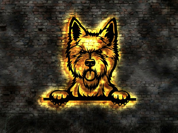 Westi - Westhigland-White-Terrier 3D-Wandbild Holz mit LED Licht