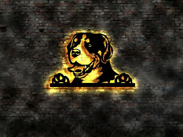 Schweizer Sennenhund 3D-Effekt Wandbild aus Holz mit LED Leuchte