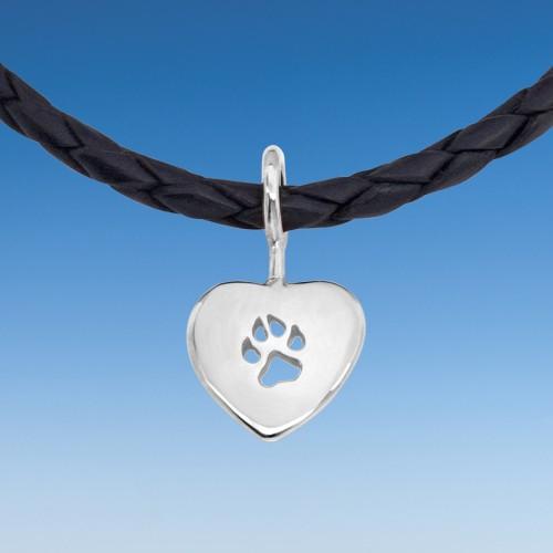 Hundepfötchen Herzanhänger an Lederkette 45 cm