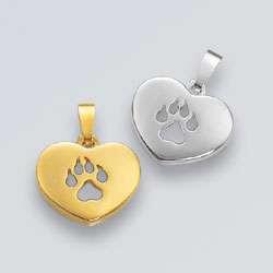 Anhänger Herz mit einem durchbrochenen Hundepfötchen