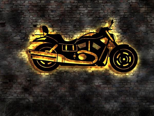 Ihr Motorrad als 3D-Wandleuchtbild aus Holz mit LED