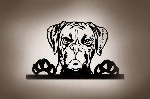 Boxer Hund 3D-Effekt Wandbild aus Holz mit LED Leuchte