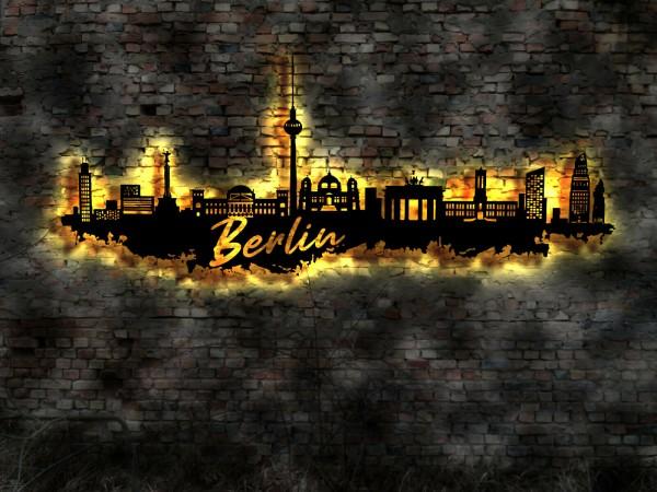 Berlin Stadt Skyline 3D-Wandbild aus Holz mit LED
