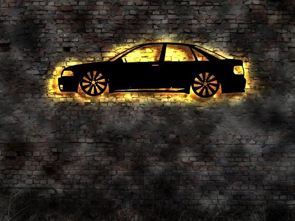 Ihr Auto als 3D-Wandleuchtbild aus Holz mit LED hinterleuchtet