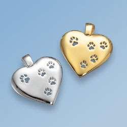 Schmuck-Anhänger grosses Herz mit 5 durchbrochenen Hundepfoten