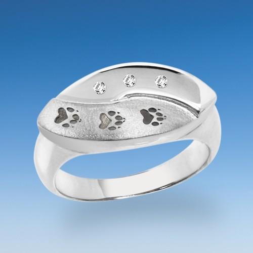 Designer Ring mit Hundepfoten und Zirkonia