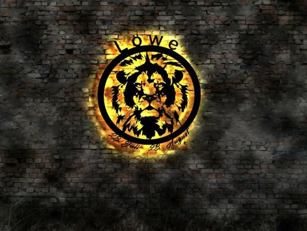 Löwe-Sternzeichen 3D-Wandbild aus Holz mit LED Licht
