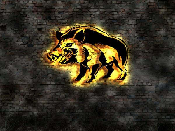 Wildschwein 3D-Effekt Leuchtbild aus Holz mit LED hinterleuchtet