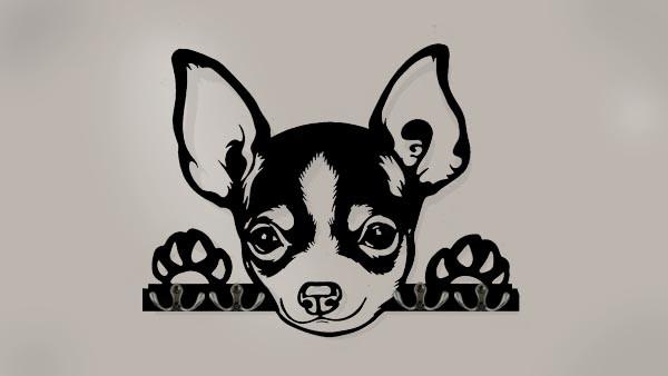 Chihuahua 3D-Schlüsselbrett aus Holz - Leinengarderobe