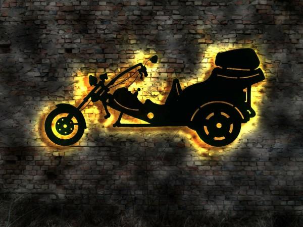 Chopper Motorrad 3D-Wandbild aus Holz mit LED