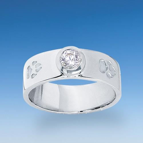 Eleganter Ring mit einpunzierten Hundepfötchen und Zirkonia