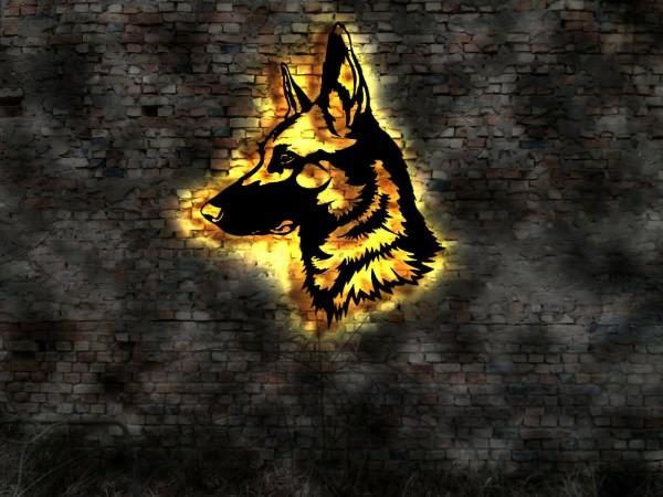 Deutscher Schäferhund 3D Wandbild aus Holz mit LED Leuchte