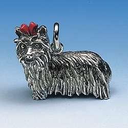 Dekorativer Anhänger Yorkshire-Terrier gross mit roter Schleife