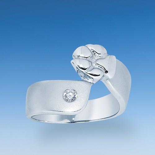 Designer Ring mit aufgesetzter Hundepfote und Zirkonia