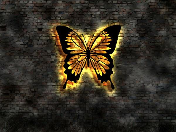Schmetterling 3D-Effekt Wandbild mit LED hinterleuchtet
