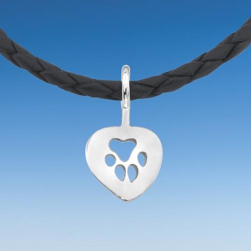 Pfotenanhänger Herz an Lederkette 45 cm