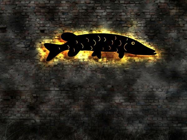 Fisch-Hecht 3D Wanddekoration aus Holz mit LED Licht