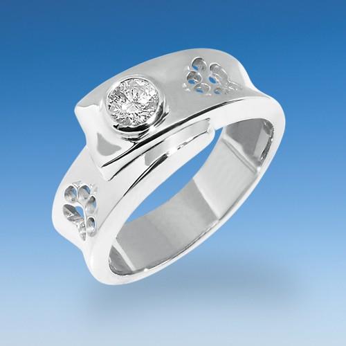 Eleganter Ring mit durchbrochenen Pfötchen und Zirkonia