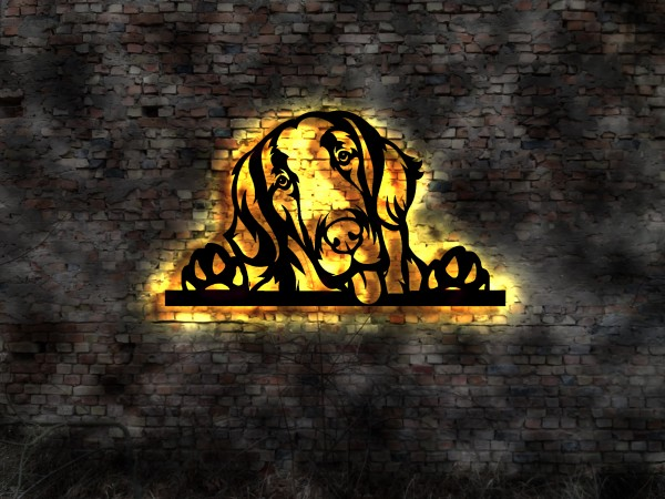 Ihr Hunde Bild 3D-Wandbild aus Holz mit LED Leuchte