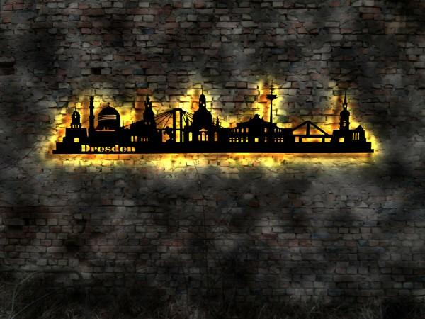 Dresden Stadt Skyline 3D-Wandbild aus Holz mit LED