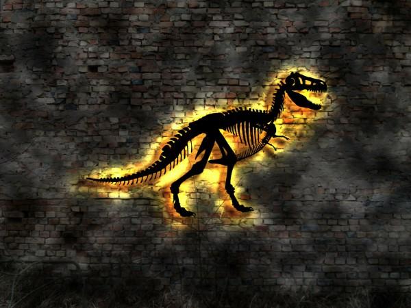 Dinosaurier Skelett 3D- Wandbild aus Holz mit LED
