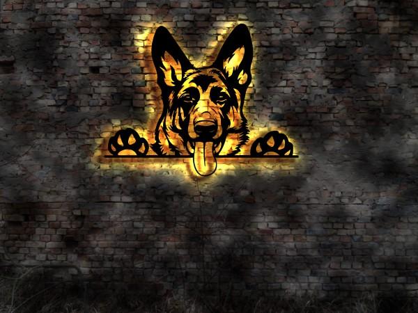 Schäferhund 3D Wanddekoration aus Holz mit LED Leuchte