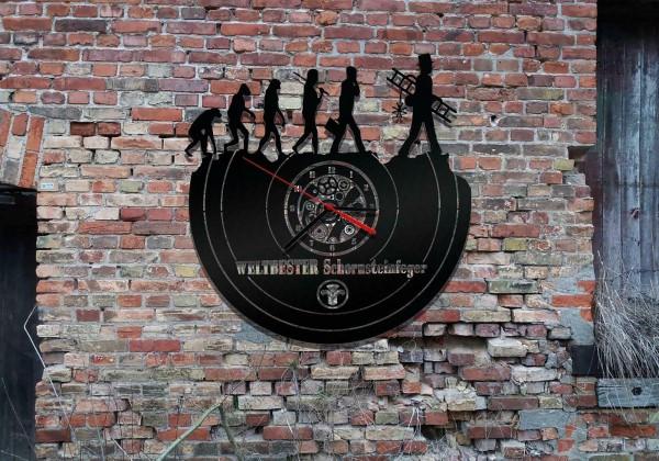 Wanduhr Motiv Schornsteinfeger aus schwarz lackiertem Holz