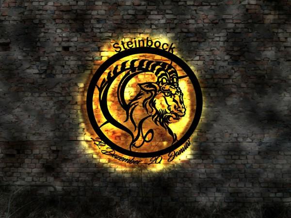 Steinbock Sternzeichen 3D-Wandbild aus Holz mit LED Licht