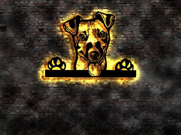 Jack-Russell-Terrier 3D Wanddekoration aus Holz mit LED Leuchte