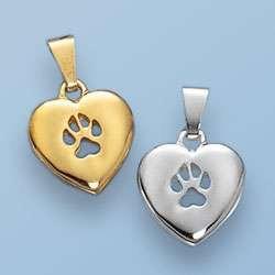 Anhänger Herz mit durchbrochener Hundepfote