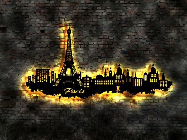 Paris Eiffelturm Skyline 3D- Wanddekoration aus Holz mit LED