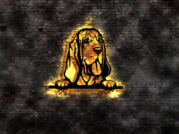 Bloodhound 3D-Wandbild aus Holz mit LED beleuchtet