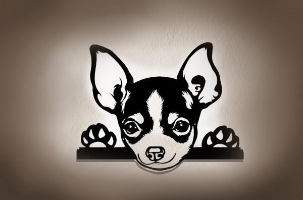 Chihuahua 3D Wanddekoration aus Holz mit LED Licht
