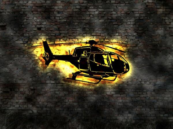 3D LED Waddeko Hubschrauber aus Holz