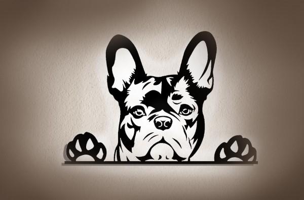 Französische Bulldogge 3D Wanddekoration aus Holz mit LED Lichte
