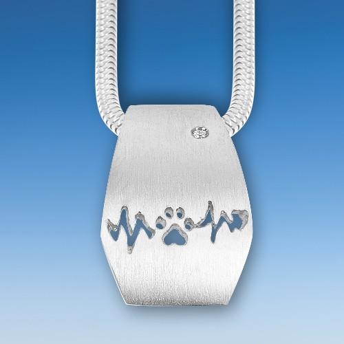 Eleganter Anhänger mit Hundepfote und Herzschlag mit Zirkonia