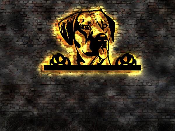 Ihr Hunde Foto 3D-Wandbild aus Holz mit LED Leuchte
