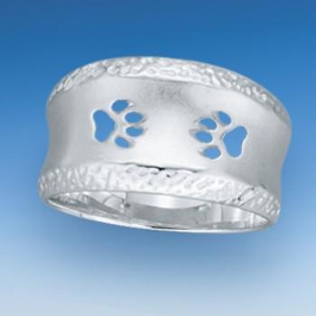 Ring mit verziertem Rand und durchbrochenen Hundepfoten